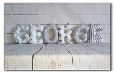 Fabric Letters, Nursery Decor, Wall Art, Personalised Baby Name, Grey