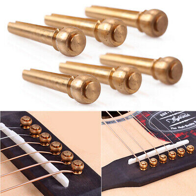 6Pcs Metal Guitar Brass Bridge Pins String Nails For Folk Acoustic Guitar Accs