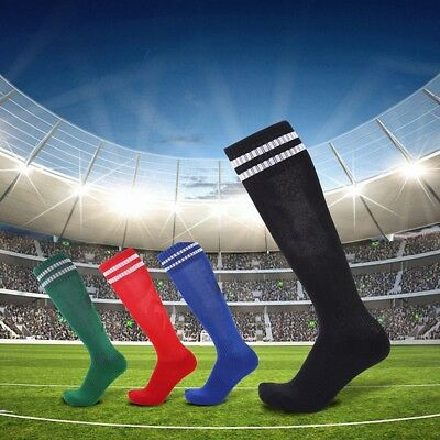 Men Kids Sports Football Soccer Long Socks Knee High Stripe Baseball Hockey New