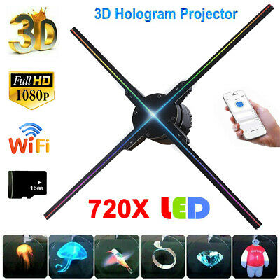 65cm 3D LED Hologram Projector Display HD 1080P Advertising Sign Player Lamp Fan