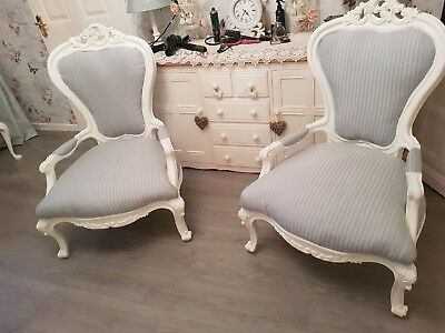 Vintage Louis XV Style French Pair of refurbished Open Armchairs