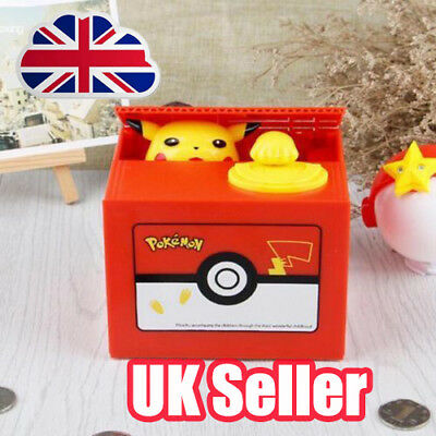 Pokemon Pikachu Moving Electronic Coin Money Piggy Bank Savings Box Xmas Gift O6