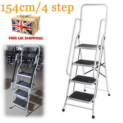 Portable 4 Step Ladder with Safety Handrail Anti-Slip Rubber Mat Folding Quality