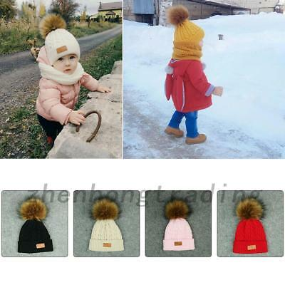 Toddler Kid Baby Girl Hat Winter Raccoon Fur Pom Knit Beanie Ski Cap Bobble Hat