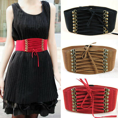 Gothic Wide Waist Belt Vintage Lace Up Strap Elastic Band Punk Dress Corset Red