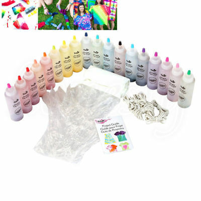 18 Bottle Tulip One Step Tie Dye Kit Vibrant Fabric Textile Permanent Paint DIY