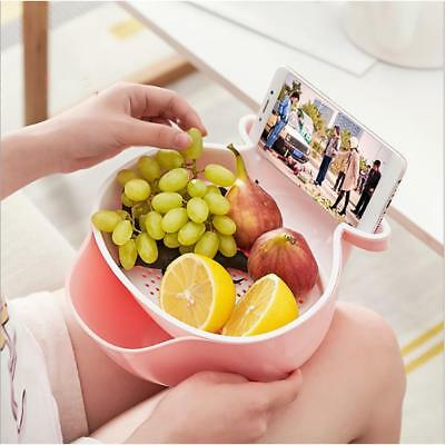 2 Layer Snack Fruit Plate Bowl Dish Phone Holder Water Filter Basket for TV Lazy