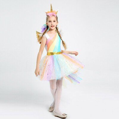 Kids Girls Unicorn Costume Tulle Tutu Fancy Dress Halloween Cosplay Party Outfit