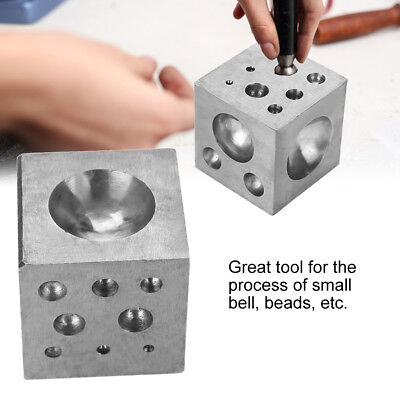50mm Dapping Block Square Jewelry Steel Cavities Round Dome Forming Grooves Tool