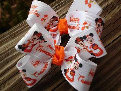 """Hair Bows Two Medium 2"""" Happy Thanksgiving with Mickey and Minnie Hair bows USA"""