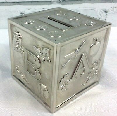 "Silver Plated Christening Money Box ABCD Animals 3.25"" x 3"""