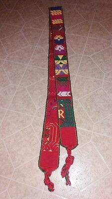 Hippie guitar strap  Tribal Pattern 68 Inches red green acoustic or electric