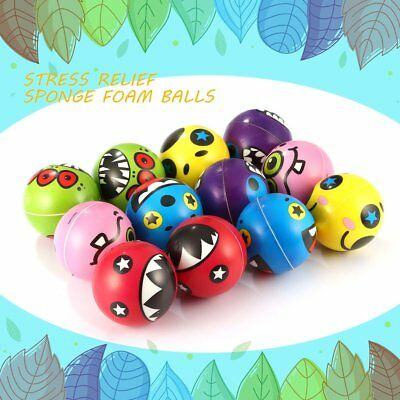 12PCS Monster Expression Stress Relief Sponge Foam Balls Hand Squeeze Toys CA