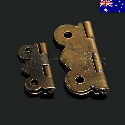 AU 12pcs Brass Butterfly Jewelry Chest Gift Box Wood Case Cabinet Door Hinges