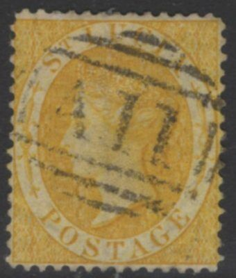 ST.LUCIA SG16a 1876 4d OLIVE-YELLOW p14 USED