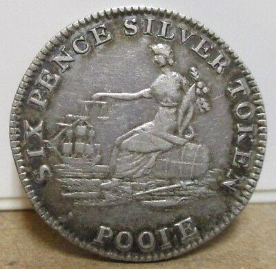 1812 D-10, Sixpence Silver Token, Dorsetshire, Poole - Commerce Seated, W B Best