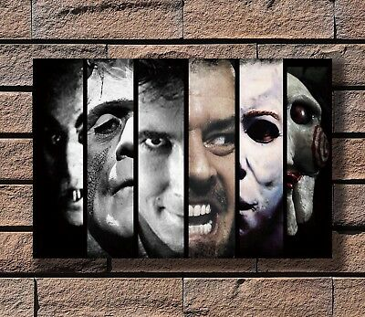 Classic Horror Movie Monster Characters Collage Print 24x36 in Silk Poster KX868