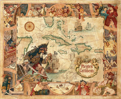 Disney Classic Pirates Of The Caribbean Map Fabric POSTER Wall Decoration 0163