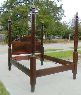 Beautiful Tall Post Solid Mahogany Empire Bed w/Cornucopias~~Queen Size