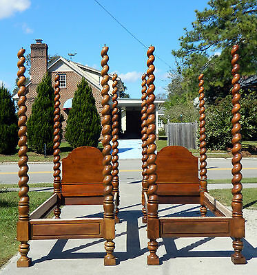 Pair~~Rope Turned Tall Post Canopy Beds~~19th Century