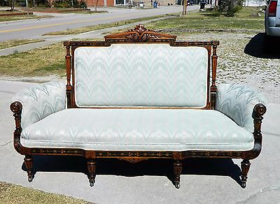 Herter Bros. Walnut Ebony Inlaid Sofa