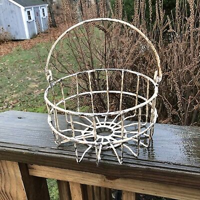 Vintage Small 1950's Cape Cod Metal Wire Clam Oyster Basket Painted Nautical