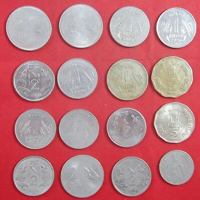12 vintage India coins