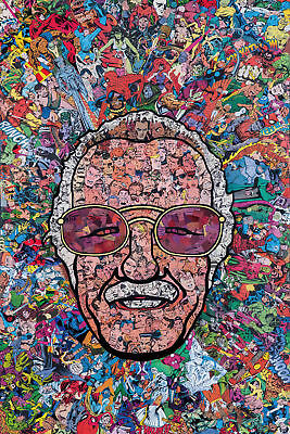 N-68 Marvel Comics Classic Stan Lee Collage Funny Fabric POSTER 20x30 24x36