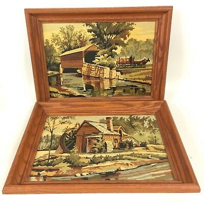 Water Mills PAIR VTG Framed Paint By Number Painting MCM Neutral Muted Colors