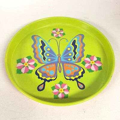 Cheinco Mod 1960s Butterfly Metal Tray Bright Green Pink Flowers Vintage Hostess