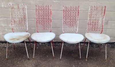 Lot Of 4 Vintage Salterini Wrought Iron Chairs For Restoration