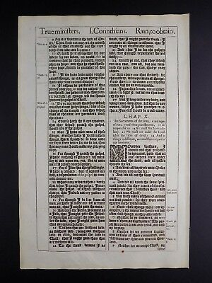 1611 KING JAMES BIBLE LEAF PAGE *BOOK OF 1st COR.7:36:10:8 *RUN THE GOOD RACE NF