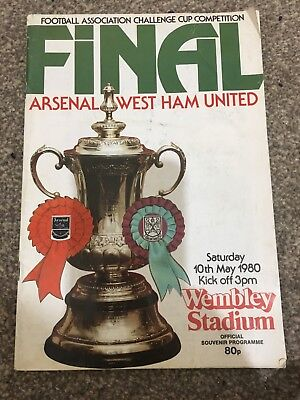 FA Cup final Programme Arsenal Vs West Ham United Saturday 10th May 1980