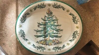 Spode Christmas Tree Oval Plates Pack of 8
