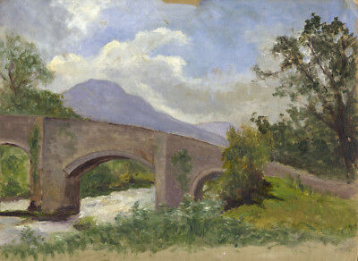 Eva Walbourn, Landscape with Bridge - Original early 20th-century oil painting