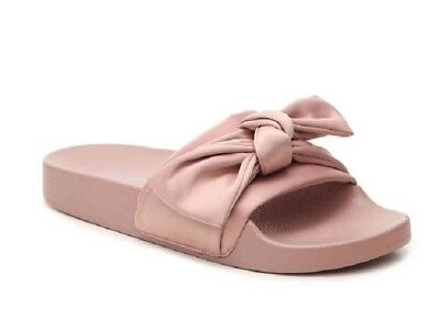 de78c4c872a Steve Madden Womens Slides Silky Pink Sandals Satin with Bow US Size 7 New  Boxed