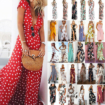UK Womens Maxi Boho Floral Summer Beach Long Skirt Evening Cocktail Party Dress