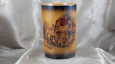 "CROWN DEVON ""Coaching Days"" CYLINDER VASE Canister #1446   THE OXFORD INN"