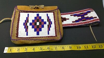Vintage Antique Stoney Native American Beaded Belt with Pouch Sara Twoyouhgman