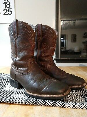 6e324d8d39628 mens brown ARIAT sport wide square toe cowboy western boots leather size 8EE