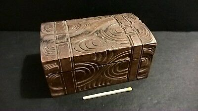 Nice antique Davos Switzerland hand carved Swiss Alps souvenir wooden trunk box