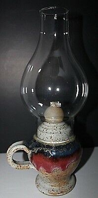 Ceramic Pottery Oil Lamp With Glass Chimney 13.5 Inches Tall