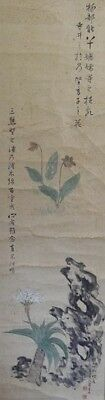 Japanese Hanging scroll / Flowers Design / KAKEJIKU / Antique / 21i