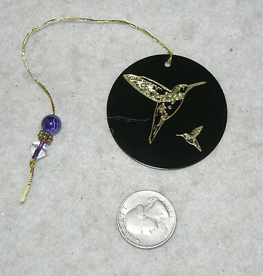 """2"""" Black Enameled Brass Disc Ornament with Etched Humming Birds"""