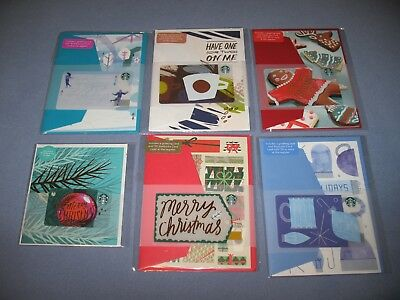6 Starbucks Christmas Greeting Card Lot Gift Cards - Assorted - Brand New !