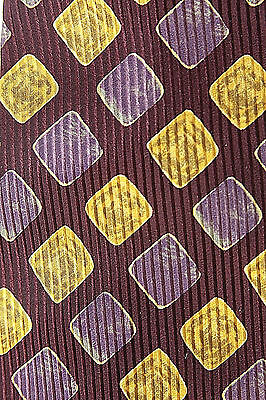 Hugo Boss Men's Tie, Purple, Gold, Yellow, NWOT, Made in Italy, 100% Silk, 57""