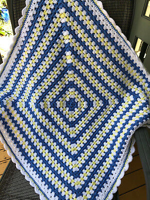 "Soft Handmade Crochet  Baby Blanket  Unisex Beautiful GIFT idea ""Winter weight"""