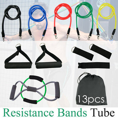 13 pcs Latex Yoga Strap Resistance Bands Workout Exercise Home Gym Tube Fitness