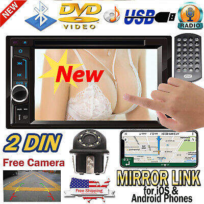 Double 2DIN In Dash Car Stereo CD DVD Player USB SD Bluetooth FM Radio 6.2 inch