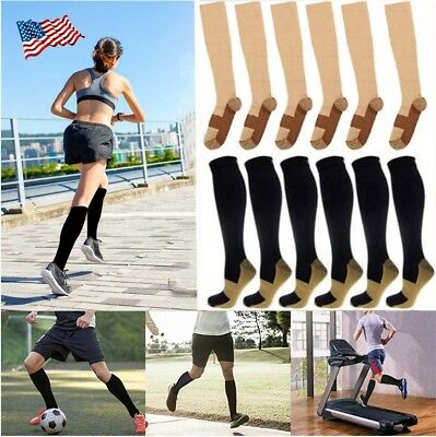 1/6 Pairs Copper Compression Socks 20-30mmHg Graduated Support Mens Womens S-XXL
